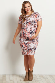Pink Abstract Fitted Short Sleeve Maternity Plus Dress