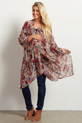Mauve Floral Chiffon Maternity Cover Up