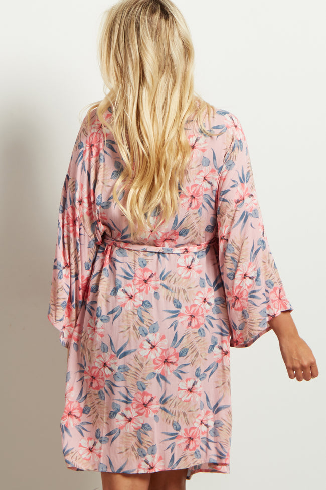 Light Pink Tropical Floral Delivery/Nursing Maternity Robe