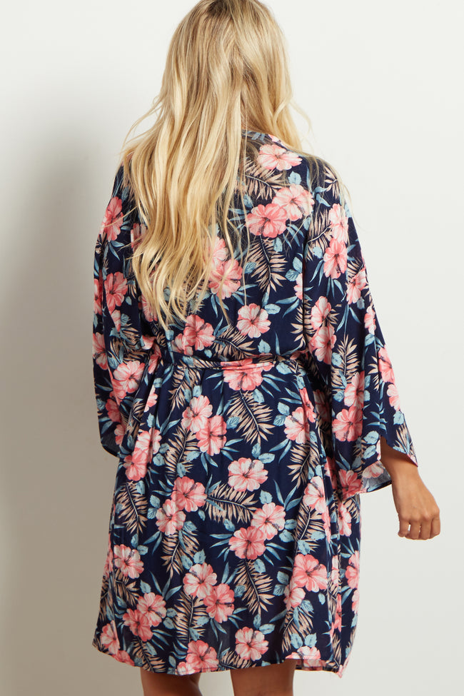 Navy Blue Tropical Floral Delivery/Nursing Maternity Robe