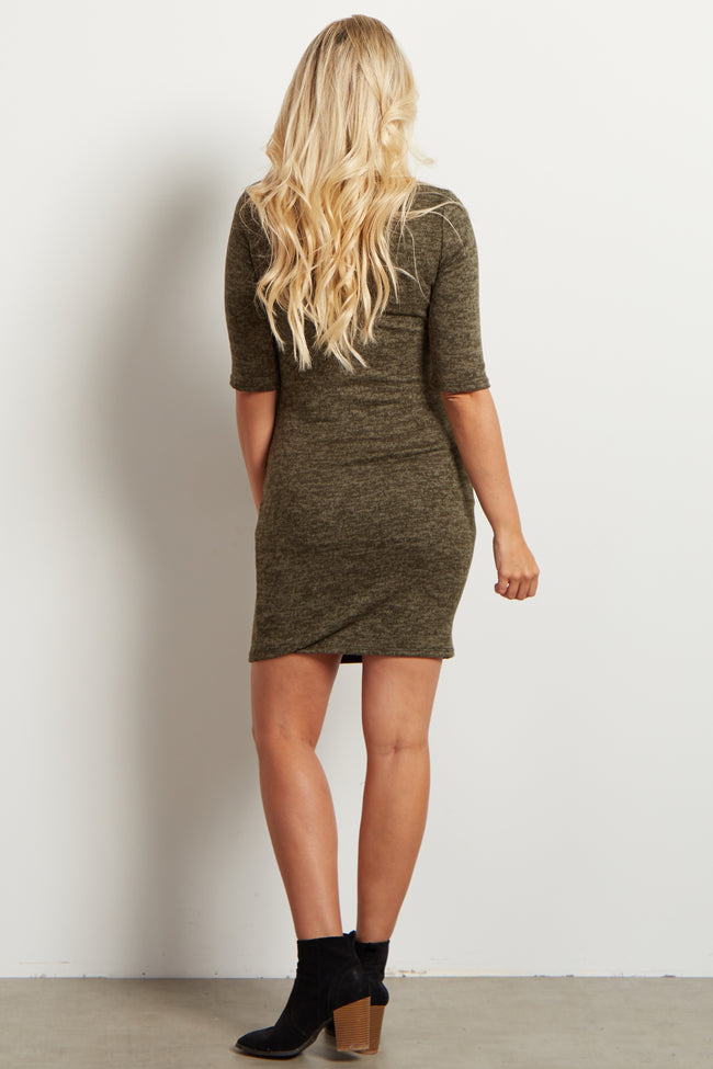 Olive Heathered Maternity Sweater Dress