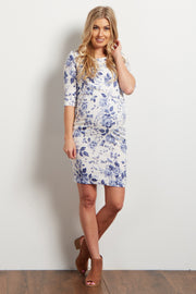 Blue Rose Fitted Maternity Dress