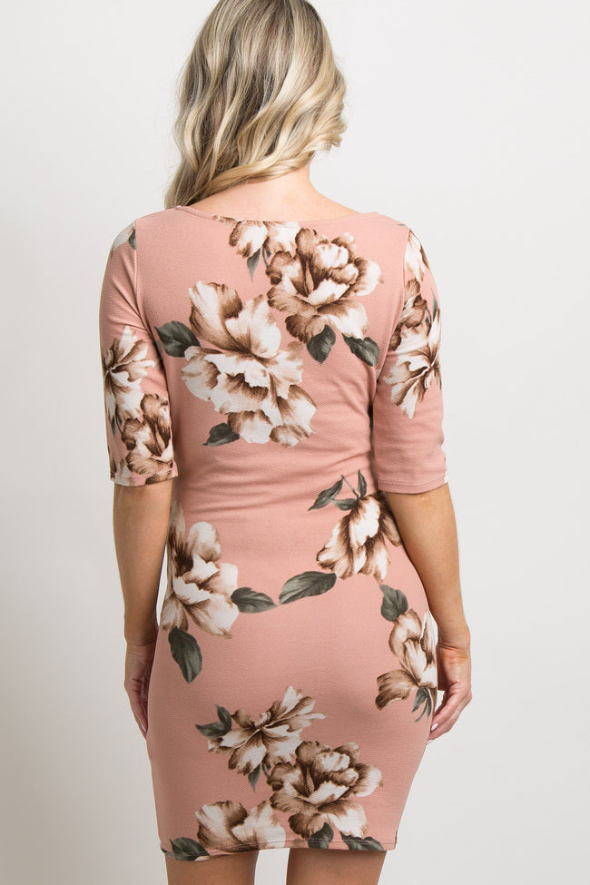 Tall Light Pink Floral Fitted Maternity Dress