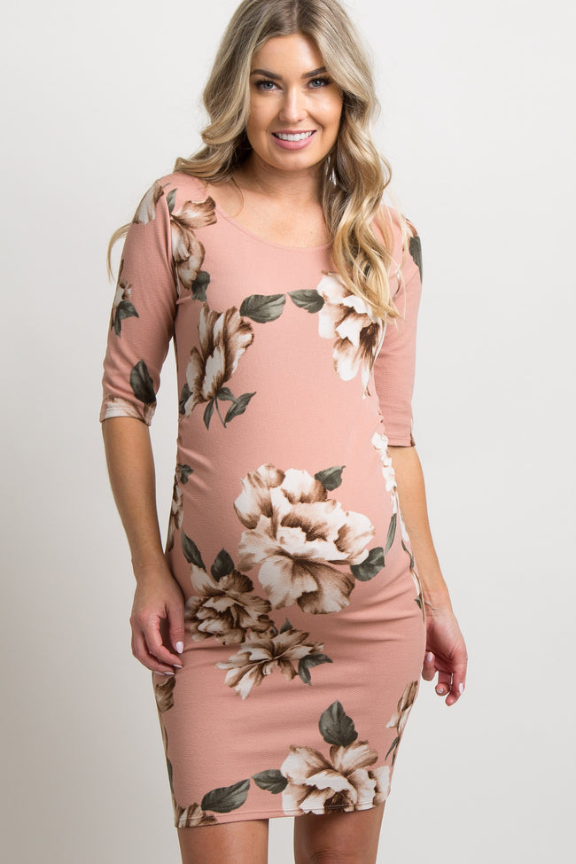 Petite Pink Floral Fitted Maternity Dress Pinkblush