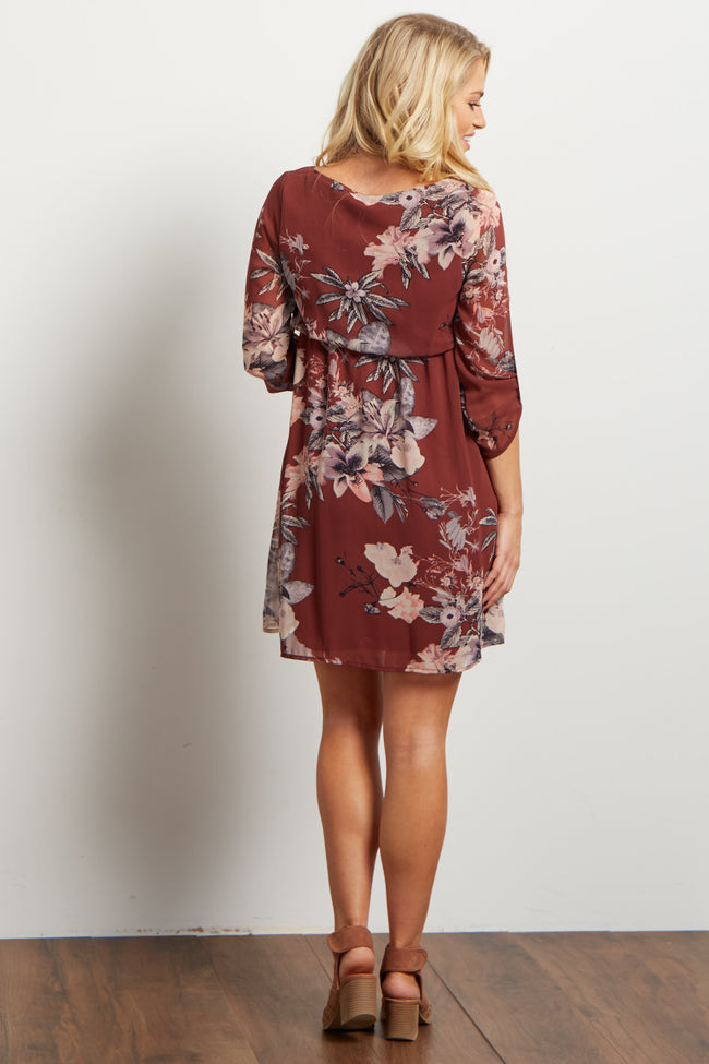 Mauve Floral Chiffon Maternity Dress