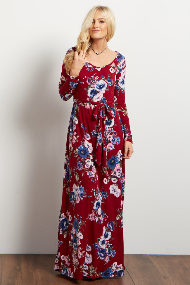 Burgundy Floral Sash Tie Maxi Dress
