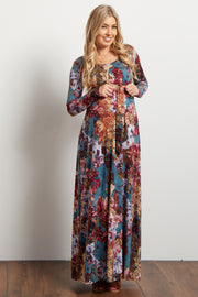 Teal Floral Print Sash Tie Maternity Maxi Dress