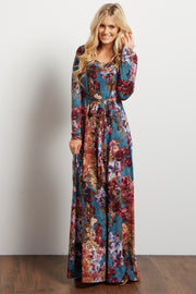 Teal Floral Print Sash Tie Maxi Dress