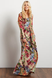 Cream Floral Print Sash Tie Maxi Dress
