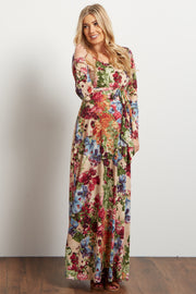 Cream Floral Print Sash Tie Maternity Maxi Dress