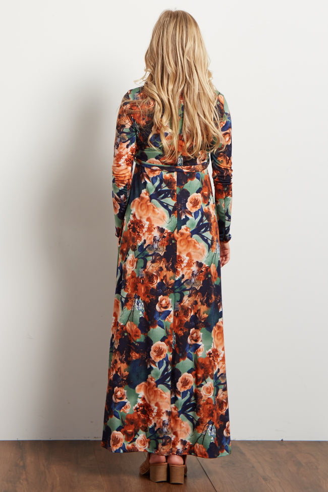 Rust Floral Sash Tie Maternity Maxi Dress