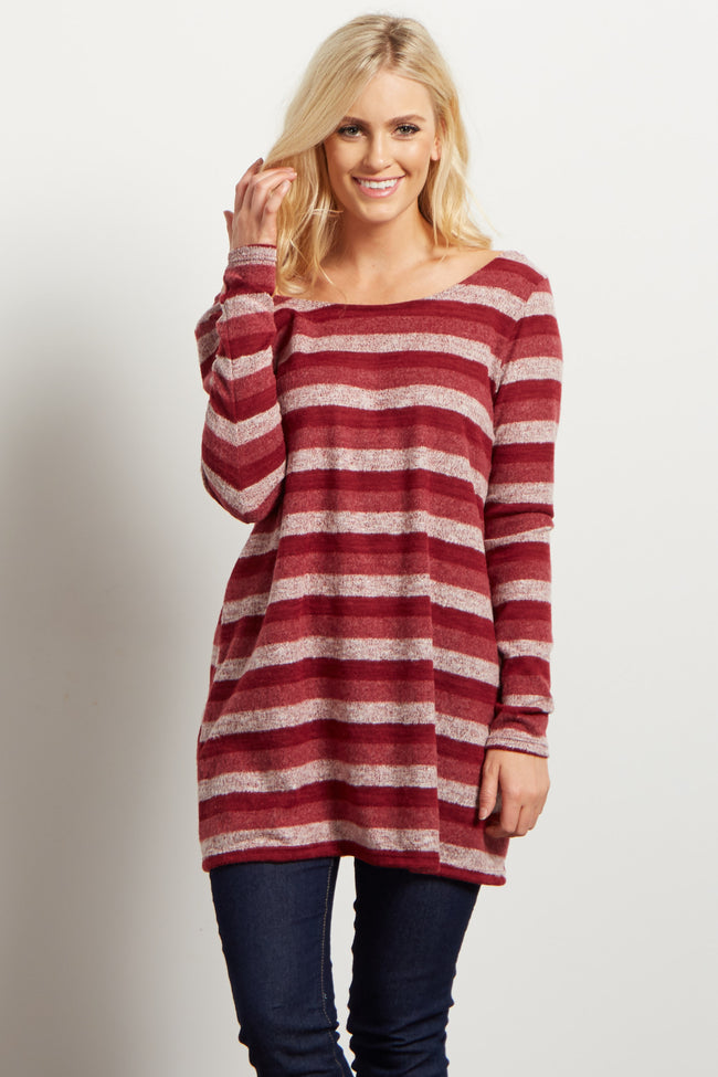Burgundy Striped Soft Sweater
