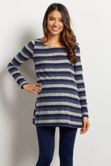 Blue Striped Soft Knit Maternity Top