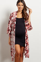 Burgundy Abstract Print Delivery/Nursing Maternity Robe