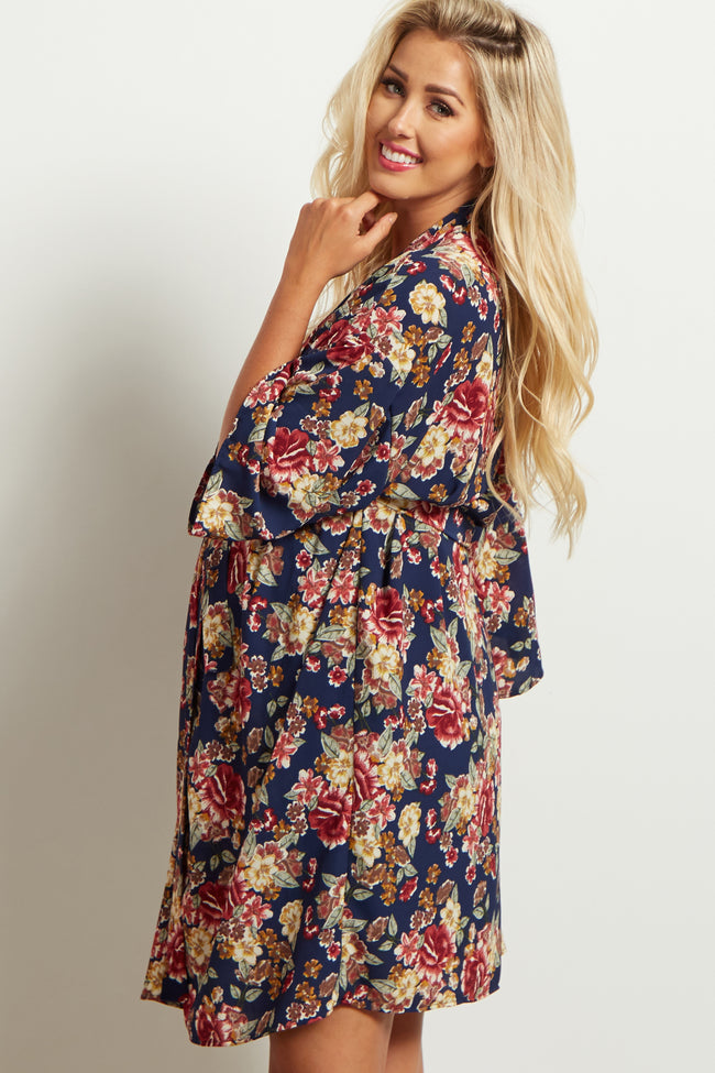 Navy Blue Floral Delivery/Nursing Maternity Robe