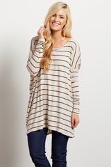 Beige Striped Dolman Long Sleeve Top