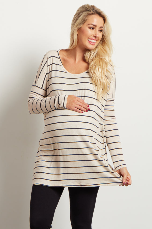 Beige Striped Dolman Long Sleeve Maternity Top