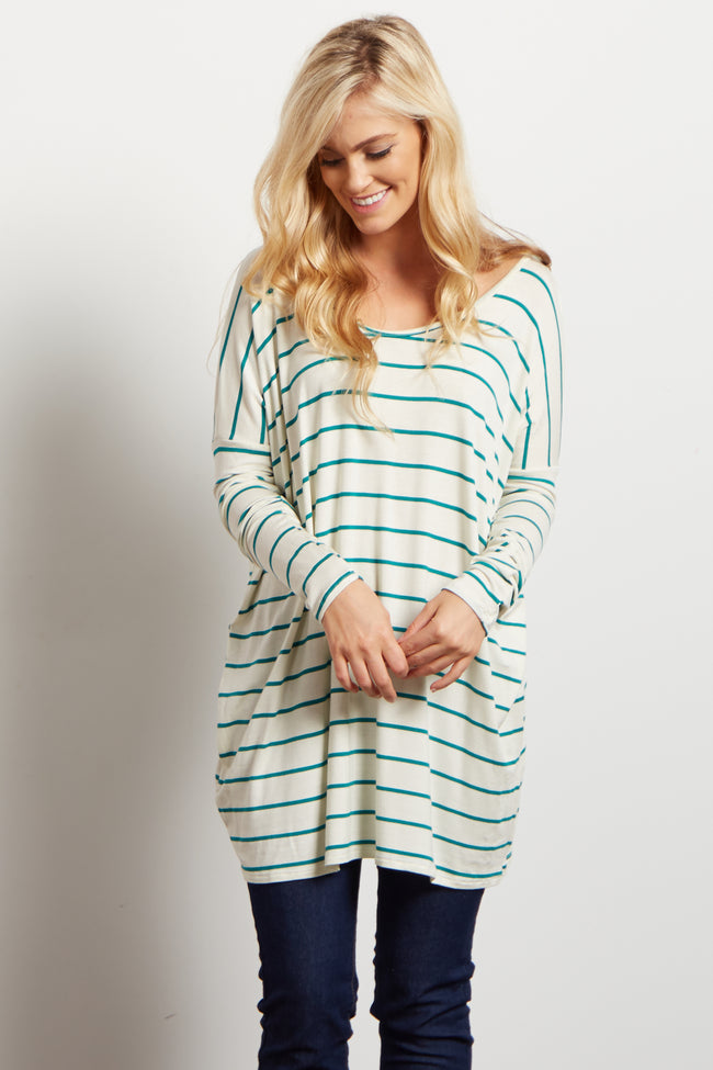 Teal Grey Striped Dolman Long Sleeve Top