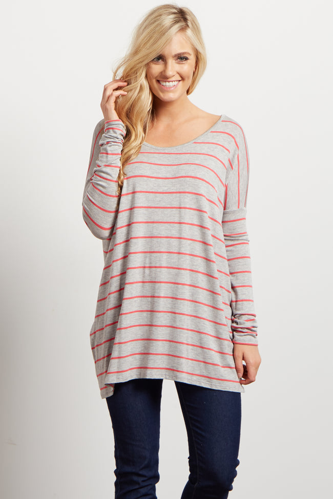 Pink Grey Striped Dolman Long Sleeve Top