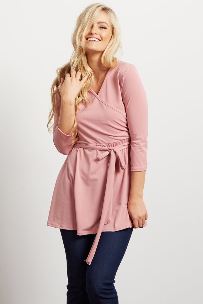 Pink Solid Wrap 3/4 Sleeve Blouse