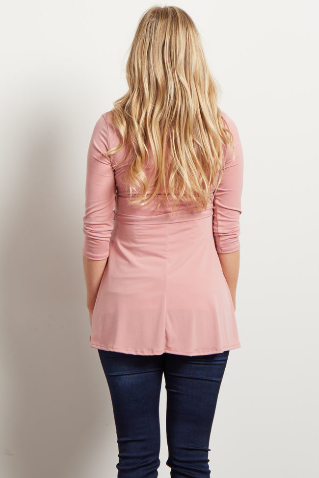 Mauve Solid Wrap 3/4 Sleeve Maternity Blouse