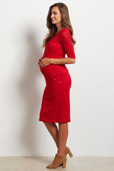 Red Fitted Lace Maternity Dress