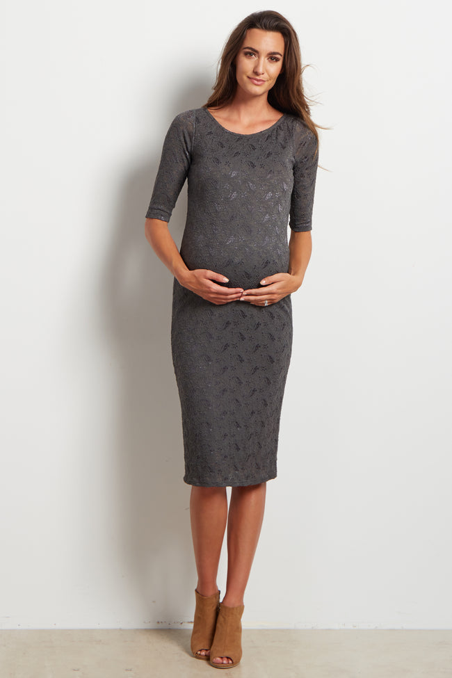 Charcoal Fitted Lace Maternity Dress
