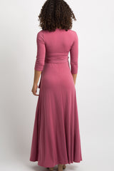 Mauve Solid Sash Tie Maternity Maxi Dress
