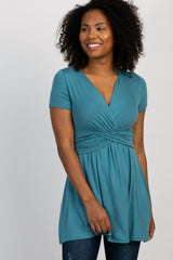 Green Draped Front Maternity/Nursing Top