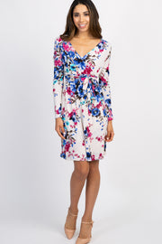 White Floral Sash Tie Wrap Dress