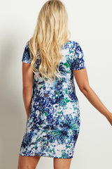 Blue Floral Abstract Fitted Maternity Dress