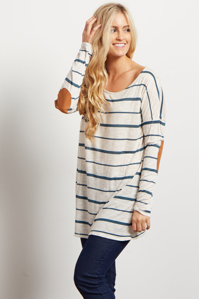 Emerald Striped Suede Elbow Patch Maternity Top