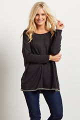 Charcoal Heathered Knit Dolman Stitch Sweater