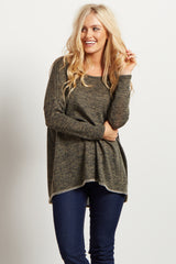 Olive Green Heathered Knit Dolman Stitch Sweater