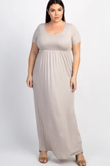 Taupe Basic Short Sleeve Plus Maternity Maxi Dress
