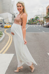 Ivory Gold Sequin Top Chiffon Sleeveless Maternity Evening Gown