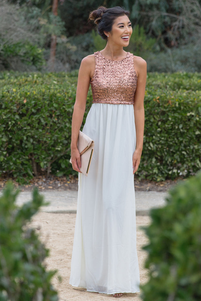 Ivory Gold Sequin Top Chiffon Bottom Sleeveless Evening Gown