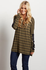 Olive Green Striped Sequin Sleeve Dolman Top