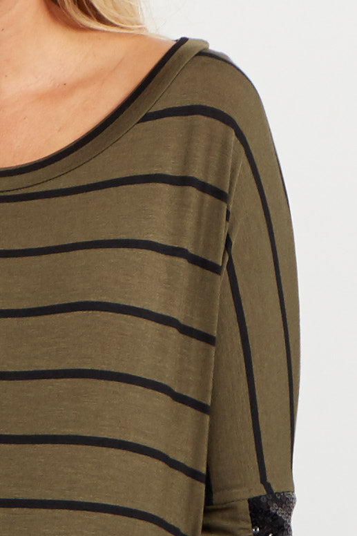 Olive Striped Sequin Sleeve Maternity Top