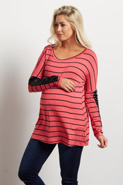 Pink Striped Sequin Sleeve Maternity Top