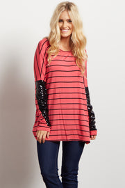 Pink Striped Sequin Sleeve Dolman Top