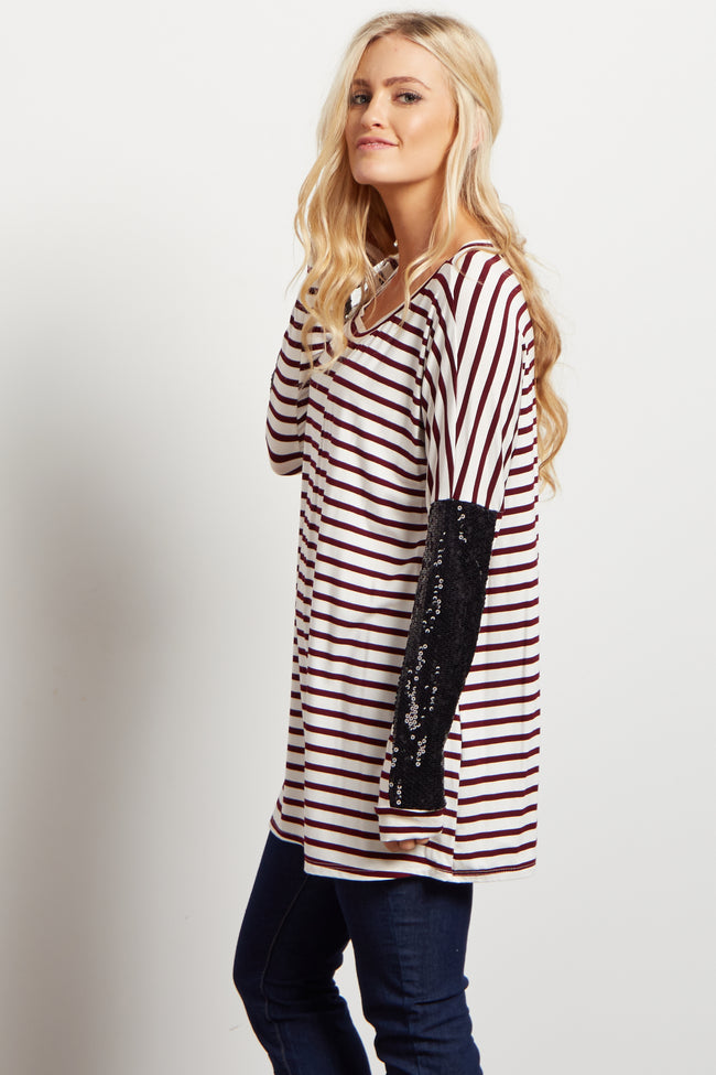 Burgundy Striped Sequin Dolman Sleeve Top