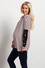 Burgundy Striped Sequin Sleeve Maternity Top