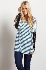 Teal Striped Sequin Dolman Sleeve Top