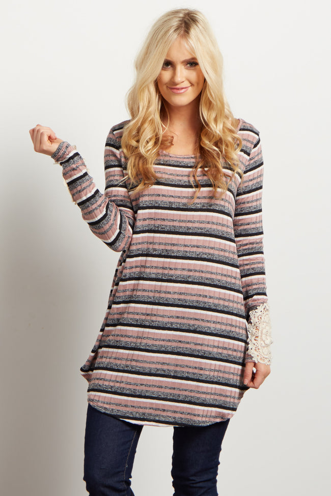 Pink Multi-Color Striped Crochet Accent Top