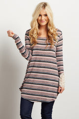 Pink Striped Crochet Cuff Maternity Top