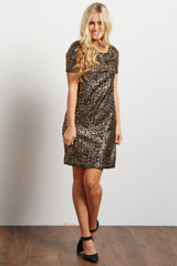 Black Gold Metallic Print Maternity Mini Dress