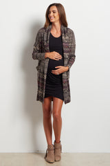 Fuchsia Accent Tribal Knit Maternity Cardigan