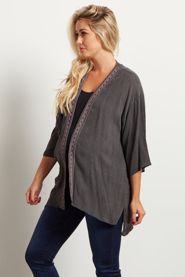 Charcoal Crochet Embroidered Maternity Cover Up