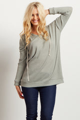 Green Long Sleeve Thermal Knit Hooded Maternity Top
